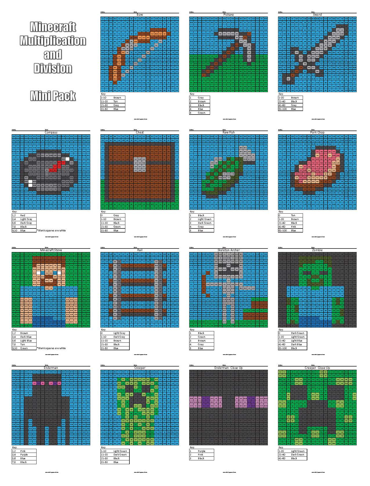 Free Minecraft Multiplication And Division Coloring Pages Minecraft