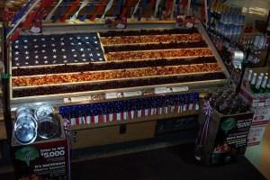 american flag display of fruit
