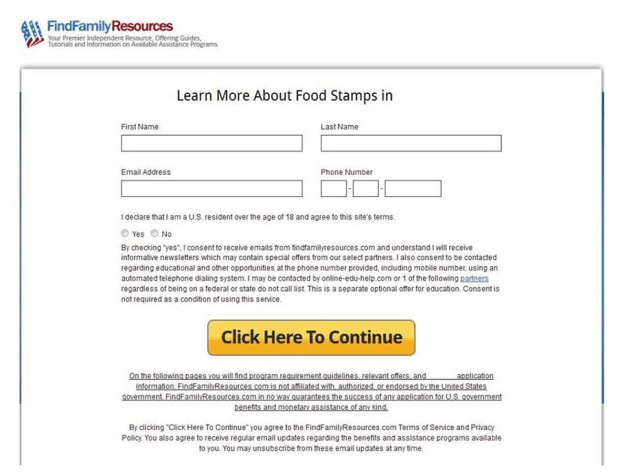 FTC Exhibit: screenshot of website claiming to help users find information about government assistance