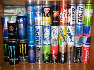 Example of sugary drinks. The sugar in energy drinks is not by any means healthy.