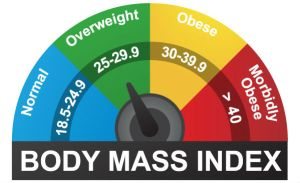 Body mass index (BMI) is a standardized way of determining a person's fat levels by comparing their height and weight.