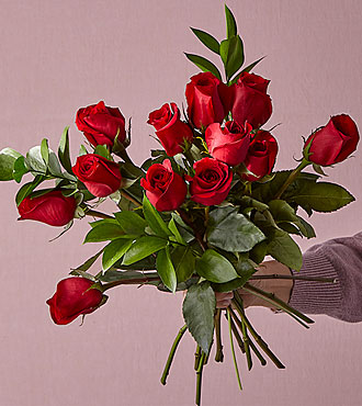 Red Rose Valentines Day Flowers - One Dozen with Vase