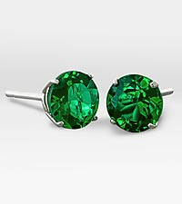 6mm Created Emerald 10K White Gold Stud Earrings