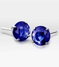 6mm Created Sapphire 10K White Gold Stud Earrings