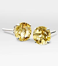 6mm Genuine Citrine 10K White Gold Stud Earrings