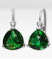 10mm Created Emerald with Created White Sapphire Sterling Silver Earrings