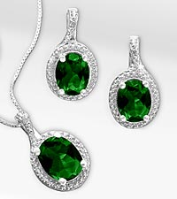 6.0ct tw Created Emerald & Diamond Pendant & Earring Set