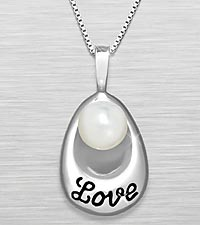 'Love' Engraved Fresh Water Pearl Sterling Silver Pendant