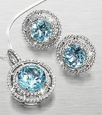 Genuine Blue Topaz & Created White Sapphire Sterling Silver Pendant & Earring Set