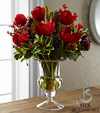 Jane Seymour Silk Botanicals Holiday Red Tulip Bouquet in Glass Vase