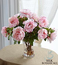 Jane Seymour Silk Botanicals Pink Peonies in Glass Vase