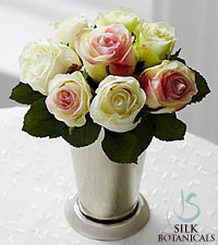 Jane Seymour Silk Botanicals Romance Roses in Silver Julep Cup