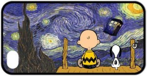 Free-shipping-for-IPhone-4-or-4S-Cartoon-Peanuts-Snoopy-The-Starry-Night-Doctor-Who-Tardis