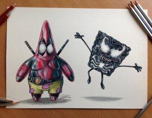pencil_drawing_of_deadpool_patrick_venom_spongebob_by_atomiccircus-d6rqcqf