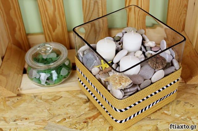Διακοσμητικό βάζο με κορδόνια και ρικ ρακ