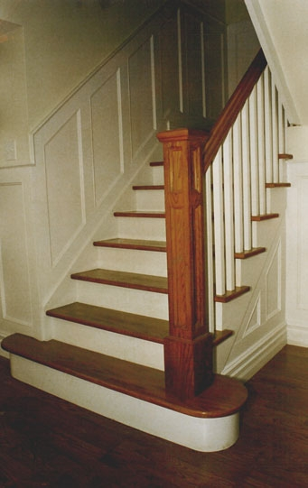 Handrail And Staircase Picture Gallery Finishing Touches Toronto | Wooden Hand Railing Designs | Light Wood | Residential Industrial Stair | Wood Panel | Decorative Glass | Scandinavian