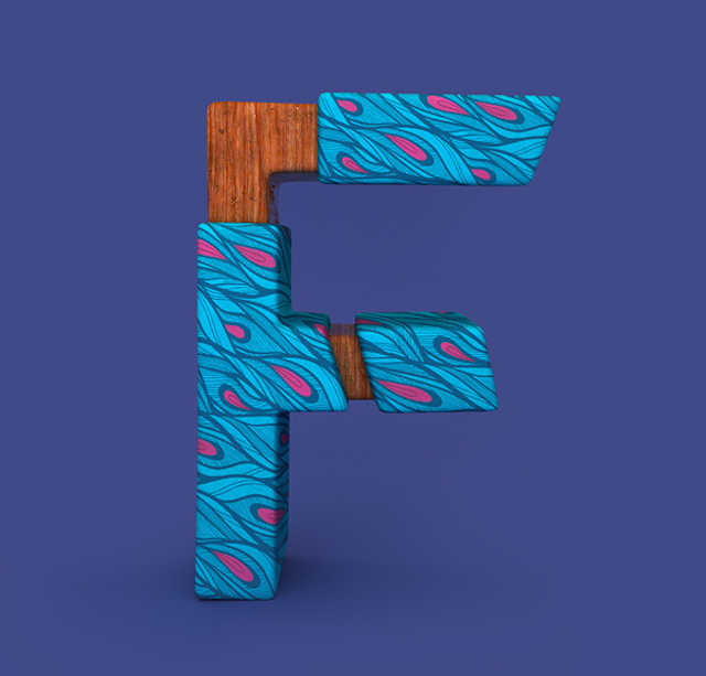 3D Patterned Alphabet M     Fubiz Media 3D Patterned Alphabet F