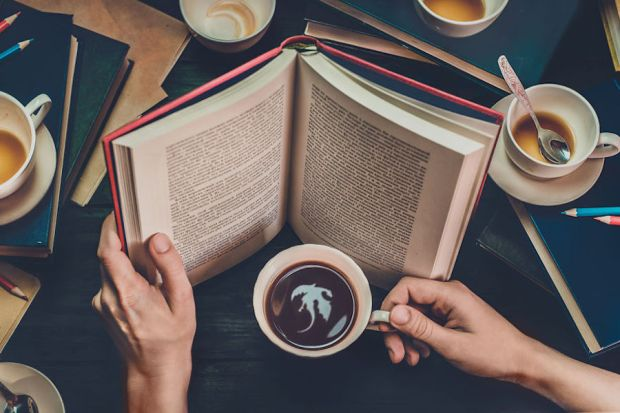 Still Life Photography Dina Belenko Folded Story Coffee for Dreamers Book Reading Dragon Latte Art Coffee Cups Empty Cups Spoons Books Desktop Stories