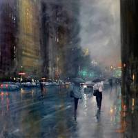 Paintings of Rainy Days in the City