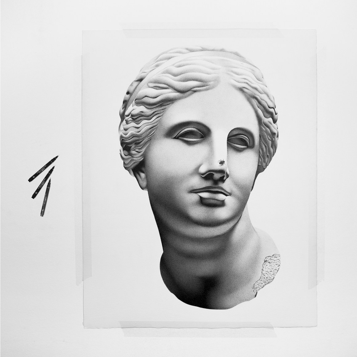 By superposing lines dots and pencil strokes alessandro paglia gives birth to his magic and provides relief to his imagination and pop culture imagery