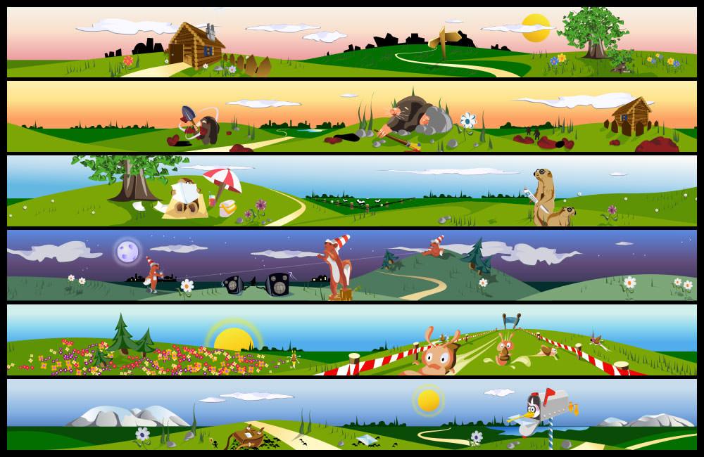 Verschiedene Headergrafiken mit Tieren im Comic-Stil