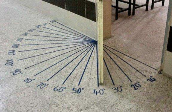Auf den Boden gezeichnete Gradangaben an einer Klassenzimmertüre