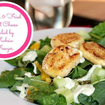 Green & Fried Goat Cheese Salad with Creamy Dill Dressing