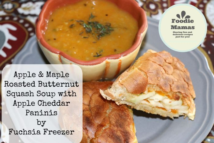 Apple & Maple Roasted Butternut Squash Soup with Apple Cheddar Panini's