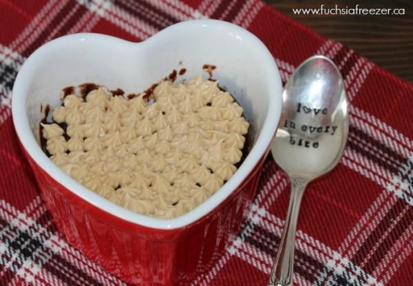 Mini Chocolate Mug Cake with Peanut Butter Frosting