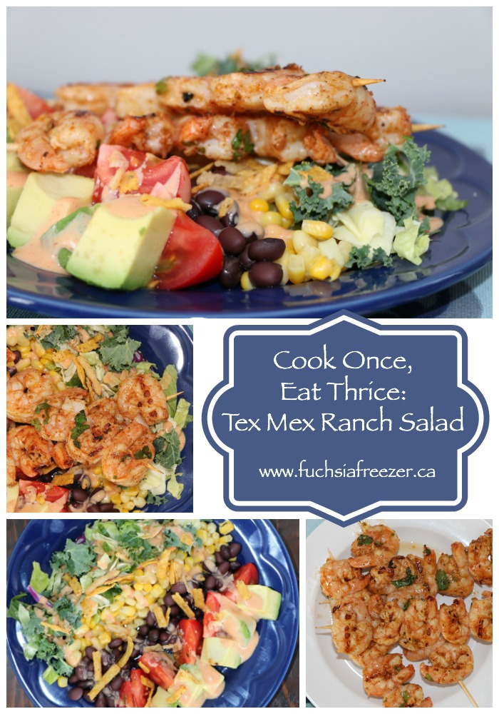 Bagged Salads can look like this?! They sure can! Try this amazing Tex Mex Ranch Salad with grilled shrimp! Yum!
