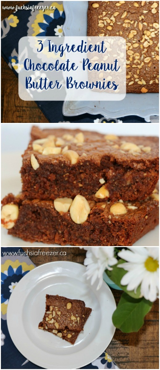 it only takes 3 INGREDIENTS to make these amazing Chocolate Peanut Butter Brownies! Perfect for letting the kids help in the kitchen! Yum!!