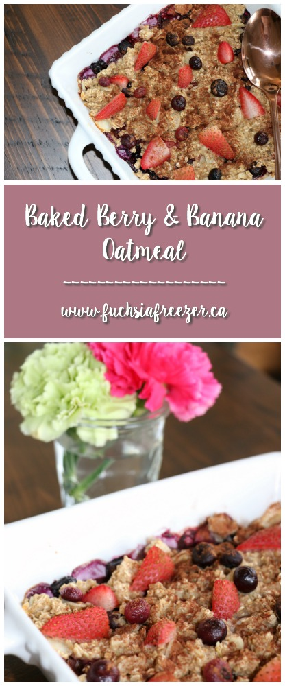 Baked Berry & banana Oatmeal is the perfect way to start off your morning! 15 minutes of prep is all it takes. Make in advance and reheat for easy mornings on the go!