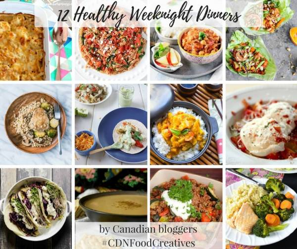 12 Healthy Weeknight Dinners! Everything from healthy baked Mac n' cheese, salads, one pan baked salmon and more!