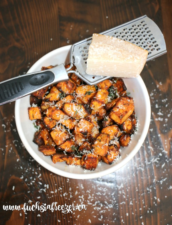 Parmesan Roasted sweet potatoes.
