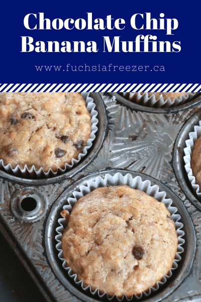 Easy Chocolate Chip Banana Muffins (dairy-free!). Perfect to make anywhere!