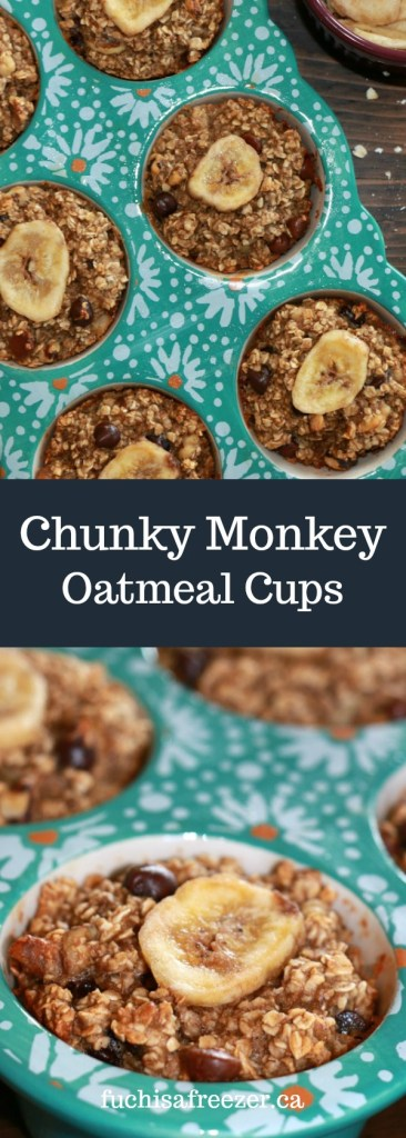Chunky Monkey Oatmeal Cups. Freezer friendly, delicious, and kid-approved! #freezer #oatmeal #chocolatechips