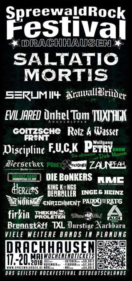 Flyer Spreewaldrock Festival 2018 mit F.U.C.K., Saltatio Mortis, Onkel Tom uvm.