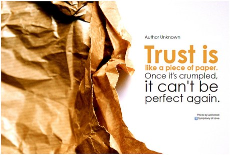Crumpled piece of paper to illustrate the damage of violating someone's trust