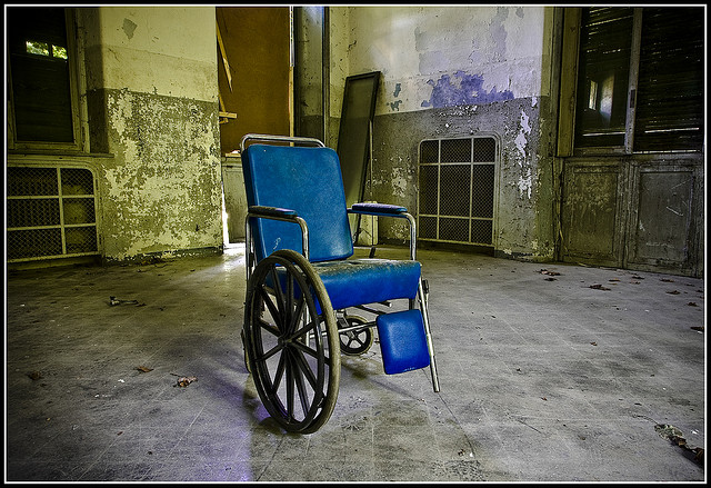 Stock image from an abandoned mental hospital (apropros, right?). Via Flickr.com; some rights reserved.