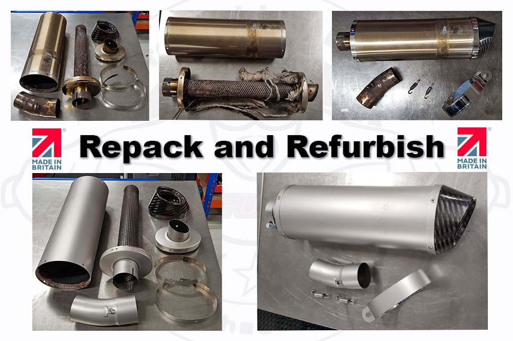 repack an aftermarket motorcycle exhaust