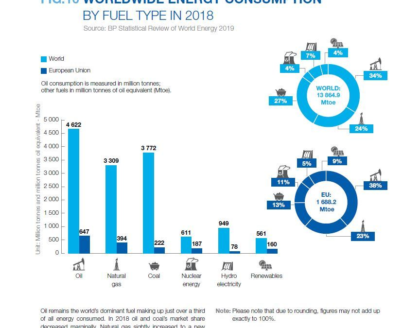 WORLDWIDE ENERGY CONSUMPTION BY FUEL TYPE IN 2018