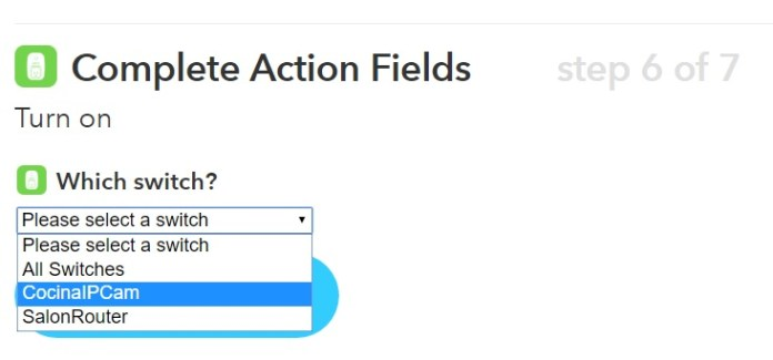 IFTTT Crear receta - Switch Action