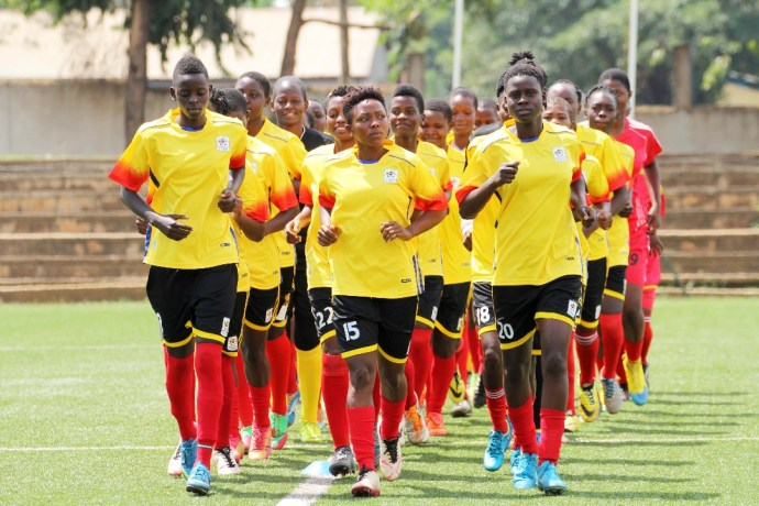 Crested Cranes warm up during their training session at Lugogo on Tuesday 10th July 2018