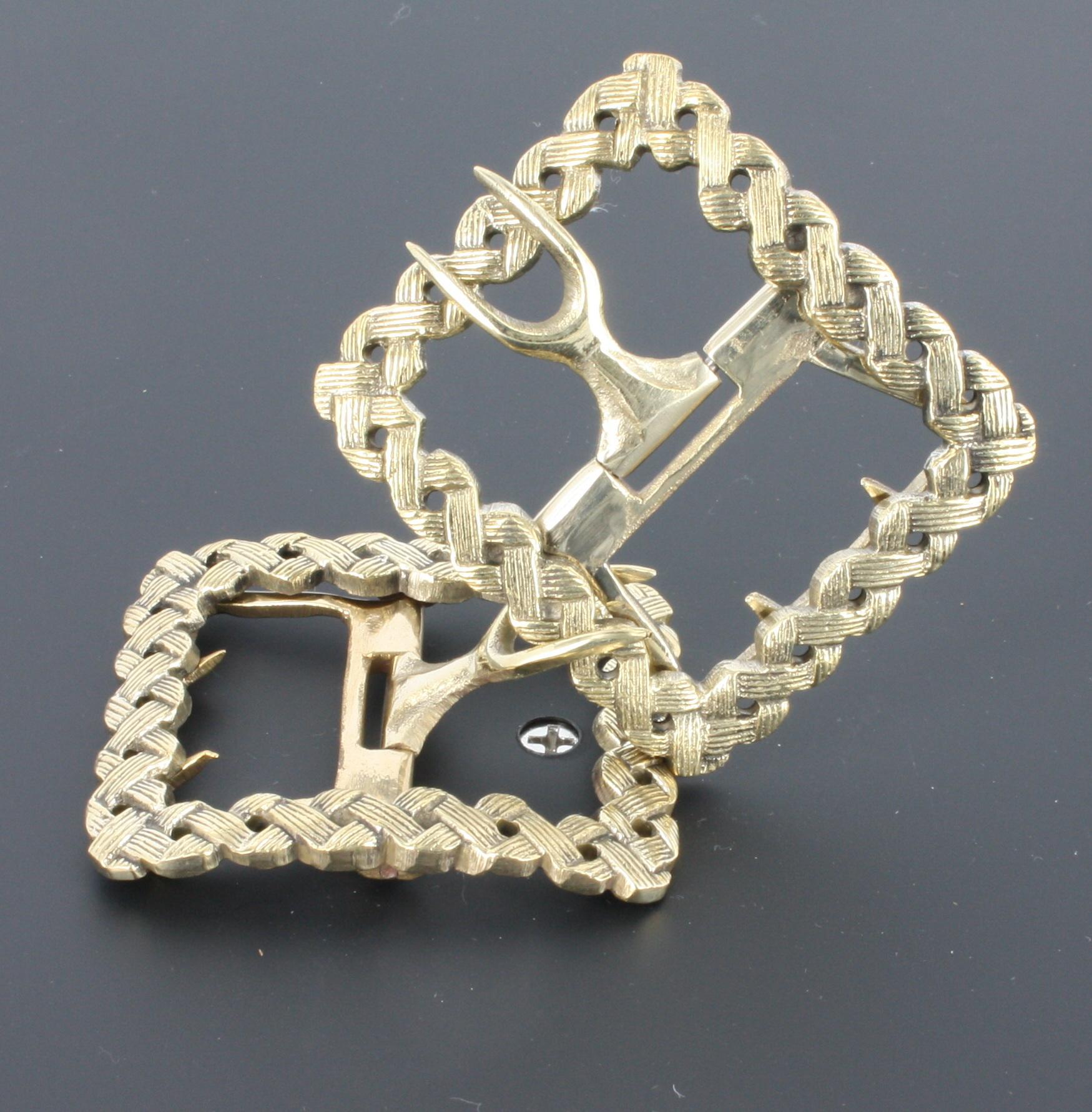 Basket Weave, Brass Colonial Shoe Buckle