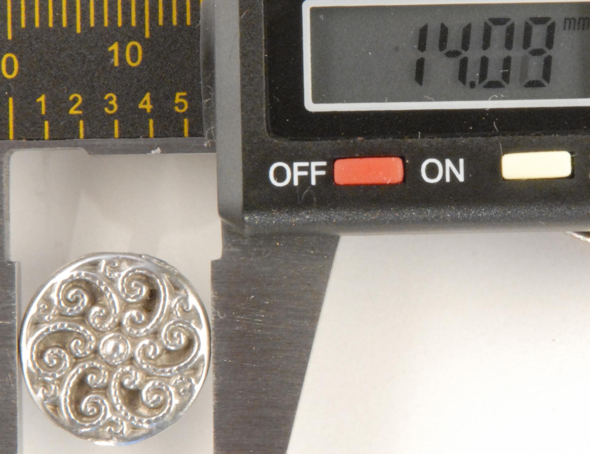 Swirls Fancy Pewter Buttons 1/2in