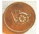 Brass Cannon & Flag Button