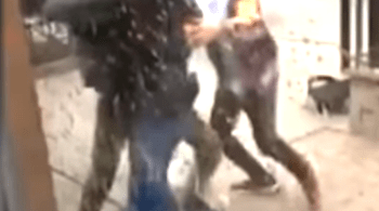 Two people attacked a security guard