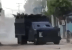 Drug cartel armored vehicle in convoy