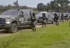 CJNG cartel gunmen displaying their firepower