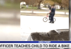 Mom Asks Police Officer to Teach Her Son to Ride Bike
